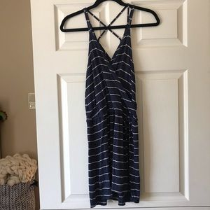 Chaser striped and strapped surplice dress